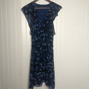 Armani Exchange Ruffle Midi Deep Plunge Dress blue